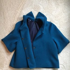 Tahari turquoise jacket with unique back
